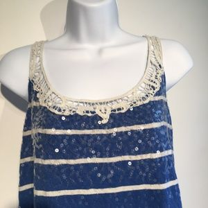 LANE BRYANT Blue A line Crochet Collar Top(Sz14)